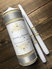 Silver and Gold Wedding Unity candle - Real crystals - Gold Wedding