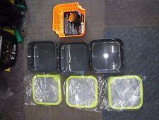 MATRIX BAIT TUBS BOX - GREY / LIME GREEN 2pint solid lid x3 guru  strainer
