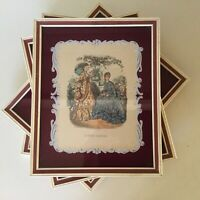 "Antique Painted Glass Framed Prints~France   10 3/4"" x 8 3/4""   Set Of Four"