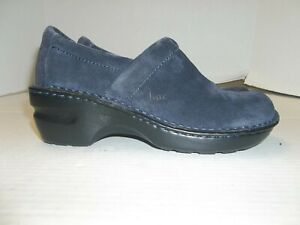 Womens Size 6.5M b.o.c. Born Blue Suede Leather Loafers/Clogs