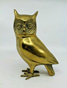 "Mid Century Modern Heavy Brass Owl Figure Figurine 18.5 cm 7.25"" tall Vintage"