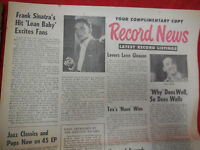 Vtg 1st Capital FRANK SINATRA Hit Song LEAN BABY Record News Paper Newspaper