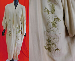 Antique Japonism Chinoiserie Dragon Gold Embroidered Pongee Silk Kimono Robe Vtg