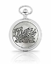 And Chain A.E.Williams British #4833 Engraved Welsh Dragon Pewter Pocket Watch