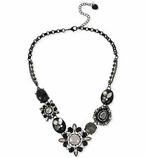 $68 Betsey Johnson BLACKOUT Mixed Black Jet Faceted Bead Frontal Necklace NEW