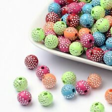 100 BULK Beads Acrylic Round Beads Assorted Lot 10mm Bling Polka Dot Wholesale