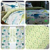 Bedlam DINO Multicolour Glow In The Dark Eyelet Curtains & Cushions
