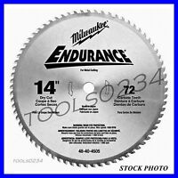 "Milwaukee 48-40-4505 Circular Saw Blade 14"" 72 Tooth Dry Cut Carbide Tipped 1""AH"