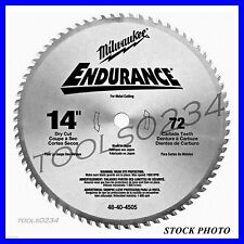 "Milwaukee 48-40-4505 Circular Saw Blade 14"" 72 Tooth Dry Cut Carbide Tipped 1""AH"
