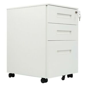 RayGar 3 Drawer Metal File Filing Cabinet Lockable With Wheels - White