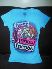 Monster High blue T-Shirt Frankiestein Draculaura Clawdeen Wolf dolls size 14/16