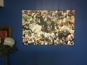 NEW 24x16 CHICAGO BEARS wrapped CANVAS Poster football Walter Payton Dick Butkus