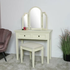 Cream dressing table stool mirror vanity set wooden bedroom furniture collection