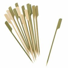 KRAFTZ® 100pc BBQ Wooden Bamboo Paddle Skewers Disposable Cocktail Party Sticks