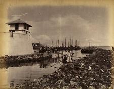 Photo Albumen Inde India Vue de Port Ceylon Ceylan Sri Lanka Vers 1880