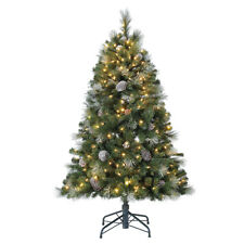 Home Heritage Lincoln 7.5 Ft 600 LED Bulb Christmas Tree w/ Pine Cones & Glitter