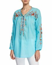 Johnny Was cotton Gina tie front button long sleeves EMBROIDERED Tunic L