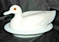 Vintage Westmoreland Glass Milk Glass Duck Oval Covered Dish. Yellow Eyes