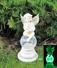Solar Powered Fairy Angel  Cherub Garden Resin Ornament  Figurine Statue