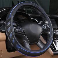 Couvre volant de voiture universel en faux cuir bleu antidérapant 37-39 cm