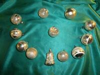 ~ 12 antike kleine Christbaumkugeln Glas silber weiß alte Reflexkugel Glocke ~