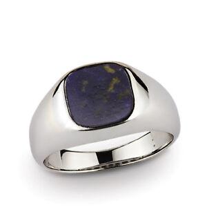 925 Fine Sterling Silver Natural Flat Blue Lapis Gemstone Statement Mens Ring