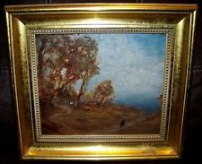 1911 ANTIQUE WOMAN FOREST IMPRESSIONIST FRANK T FORD OIL PAINTING BUFFALO NY