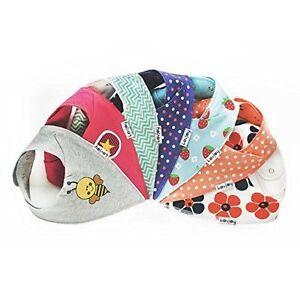 7 x Baby Bibs 100% Cotton Bandana Bibs (7 Pack) Girls Designs BNWT Up to 3 Years
