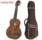 """Great 21"""" Mahogany Flower Carved with Heart Hole Soprano  Padding Bag"""