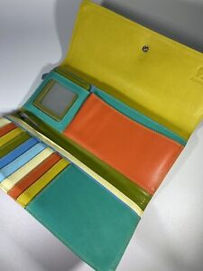 Mywalit Leather Multicolor Trifold Double Flap Wallet