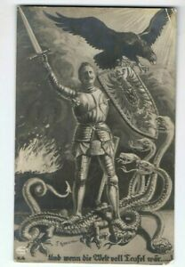 um 1915  Kaiser Wilhelm II,. als Drachentöter, Feldpost