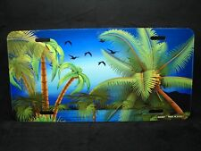 OCEAN WAVE METAL NOVELTY LICENSE PLATE TAG FOR CARS PALM TREES TROPICAL BEACH
