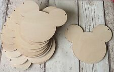 **NEW** 10 laser cut wooden Minnie Mickey mouse shapes unpainted for garland