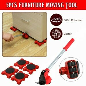 5Pcs Heavy Duty Furniture Slider Mover Lifter Move Wheel Kit Home Moving Lifting