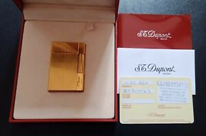 S.t. Dupont Feuerzeug  vergoldet mit Schatulle und Papieren gatsby Linie 2