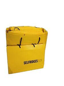 5x SELFRIDGES Signature yellow gift bag, Medium 25x22x10cm.