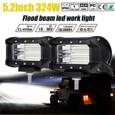 Pair 324W 32400LM LED Work Light Pod Flood Beam Offroad Fog Driving Car Backup
