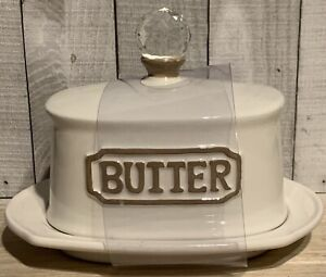 THL Butter Dish White Ceramic Farmhouse French Country Clear Crystal Knob, New