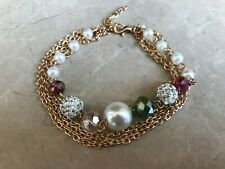 Women Bracelet Gold Tone Chain With White Beads Fashion Bracelet