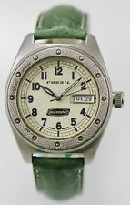 Fossil Defender Watch Mens Stainless Leather Green 100m Beige Day Date Quartz