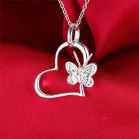 925 Silver Women Girls Cute Butterfly Heart Pendant Necklace Chain Jewelry Gift