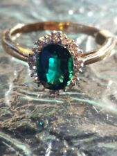 Emerald Oval Cut And White Sapphire Ring 10kt Solid Yellow Gold