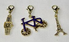 3 GOLD TONE CHARMS FOR BRACELET ETC EIFFEL TOWER WATCH & PURPLE BIKE EMELIA C3