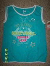NWT Girls So Tank Top Shirt Size Medium 10 Aqua Blue 100% Cotton Rock & Roll