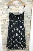 Coast Ladies Size 12 Black Floral Embroidered Dress