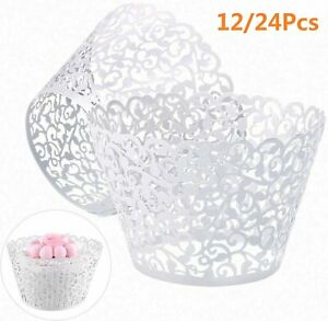 Lace Laser Cut Cupcake Wrapper Wraps Cases Filigree Vine Baking Cup Muffin UK