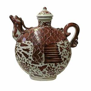 Chinese Off White Brick Blood Red Birds Shape Theme Vase Jar ws1666