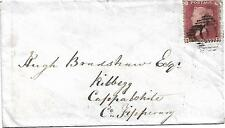 GB QV 1860 IRISH COVER PENNY RED STAR FROM ARKLOW TO CAPPAWHITE RARE COVER!!!!