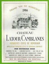 Ancienne Etiquette de Vin-Bordeaux(1986)-Château Latour-Camblanes-N°459