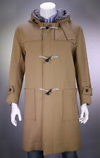 * LOUIS VUITTON * Camel Wool-Cashmere Duffle Real Fur Hooded Coat 40